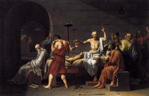 The condemned Socrates preparing to drink poison